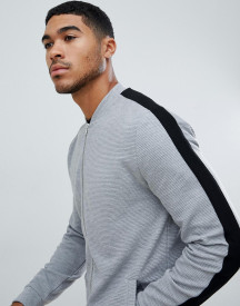 Asos Design Jersey Rib Bomber Jacket With Side Stripe In Grey afbeelding