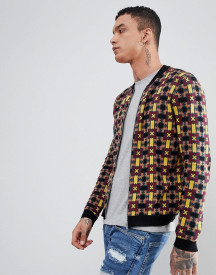 Asos Design Knitted Bomber Jacket With Geometric Design afbeelding