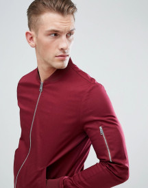 Asos Design Muscle Fit Bomber Jacket With Sleeve Zip In Burgundy afbeelding
