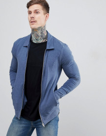 Asos Design Muscle Jersey Harrington Jacket In Dark Denim Marl afbeelding