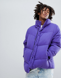 Asos Design Oversized Puffer Jacket In Purple afbeelding