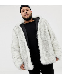 Asos Design Plus Faux Fur Bomber In White afbeelding