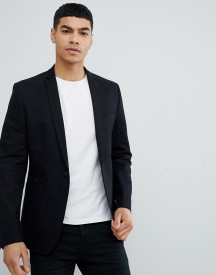 Asos Design Skinny Blazer In Black Cotton afbeelding