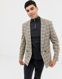 Asos Design Skinny Double Breasted Blazer In Brown Prince Of Wales Check afbeelding