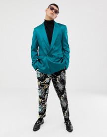 Asos Design Slim Double Breasted Blazer In Teal High Shine afbeelding