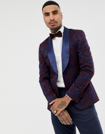 Asos Design Super Skinny Blazer In Navy Floral Jacquard With Shawl Lapel afbeelding