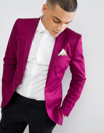 Asos Design Super Skinny Blazer In Raspberry Cotton Sateen afbeelding