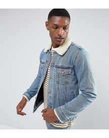 Asos Design Tall Denim Jacket With Borg Collar In Blue Wash afbeelding