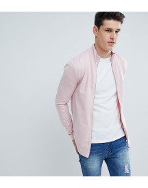 Asos Design Tall Muscle Jersey Track Jacket In Pink afbeelding