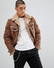 Asos Design Western Faux Shearling Jacket In Brown afbeelding