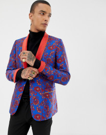 Asos Edition Skinny Blazer In Blue And Red Floral Jacquard And Shawl Lapel afbeelding
