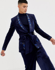 Asos Edition Skinny Blazer In Navy Velvet With Embroidery afbeelding