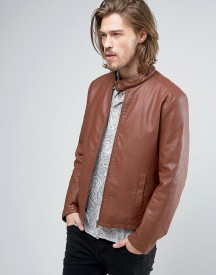 Asos Faux Leather Racing Jacket In Brown afbeelding