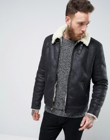 Asos Faux Shearling Jacket In Black afbeelding