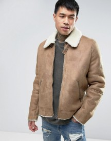Asos Faux Shearling Jacket In Camel afbeelding