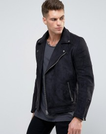 Asos Faux Suede Biker Jacket In Black afbeelding