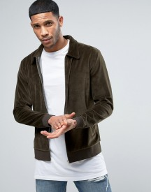 Asos Harrington In Khaki Velour afbeelding
