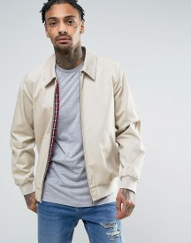 Asos Harrington Jacket In Cotton Fabric In Stone afbeelding
