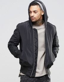 Asos Hooded Bomber Jacket With Ma1 Pocket In Black afbeelding