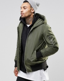 Asos Hooded Bomber Jacket With Ma1 Pocket In Khaki afbeelding