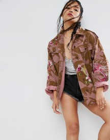Asos Jacket In Pink Camo With Dragon And Blossom Embroidery afbeelding