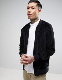 Asos Jersey Bomber Jacket In Black Velour afbeelding