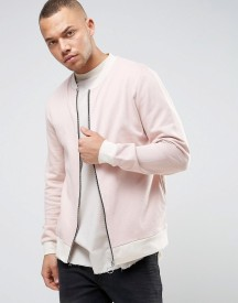 Asos Jersey Bomber Jacket With Contrast Rib In Pink afbeelding