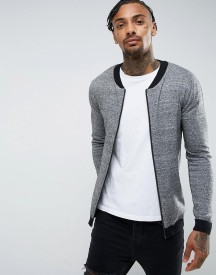 Asos Knitted Bomber With Contrast Trims In Grey Twist afbeelding