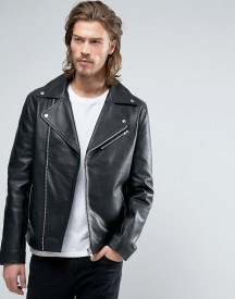 Asos Leather Biker Jacket In Black afbeelding