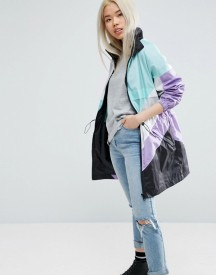 Asos Longline Festival Rain Mac In Colourblock afbeelding