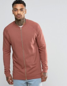 Asos Longline Jersey Bomber Jacket In Washed Red afbeelding