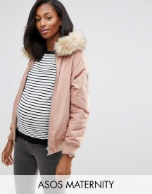 Asos Maternity Bomber Jacket With Faux Fur Hood afbeelding