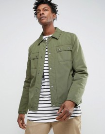 Asos Military Coach Jacket In Khaki afbeelding