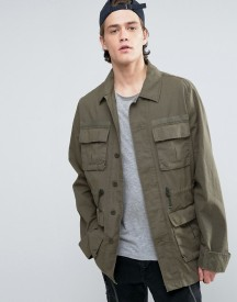 Asos Military Jacket With Drawstring In Khaki afbeelding