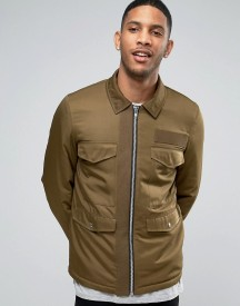 Asos Military Jacket With M65 Styling In Khaki afbeelding
