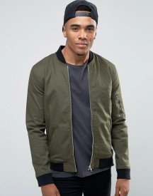Asos Muscle Fit Bomber Jacket With Ma1 Pocket In Khaki afbeelding