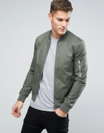 Asos Muscle Fit Bomber Jacket With Sleeve Zip In Khaki afbeelding