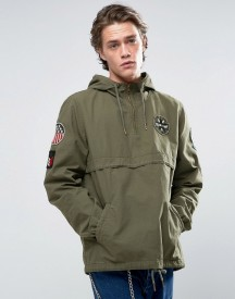 Asos Overhead Windbreaker With Badges In Acid Wash Khaki afbeelding