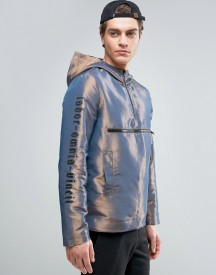 Asos Overhead Windbreaker With Sleeve Print In Silver afbeelding