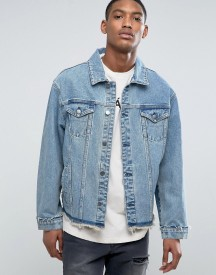 Asos Oversized Denim Jacket With Deconstructed Hem In Mid Wash afbeelding