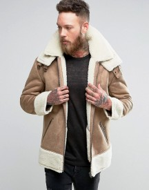 Asos Oversized Faux Shearling Jacket In Camel afbeelding