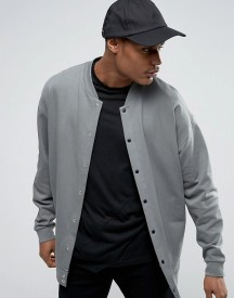 Asos Oversized Longline Jersey Bomber Jacket With Snaps afbeelding