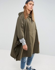 Asos Packable Poncho In Khaki afbeelding