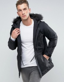Asos Parka Jacket With Faux Fur Trim In Black afbeelding