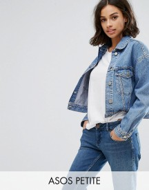 Asos Petite Denim Jacket In Midwash Blue afbeelding