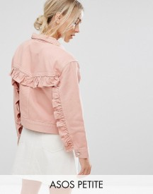 Asos Petite Denim Jacket With Ruffle Back In Washed Pink afbeelding
