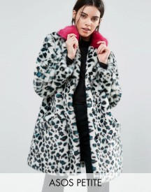 Asos Petite Faux Fur Coat In Leopard Print With Bright Collar afbeelding