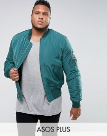 Asos Plus Bomber Jacket With Ma1 Pocket In Bottle Green afbeelding