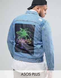 Asos Plus Denim Jacket With Back Print In Mid Wash afbeelding