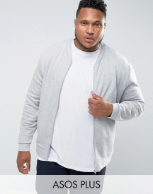 Asos Plus Jersey Bomber Jacket In Grey Marl afbeelding